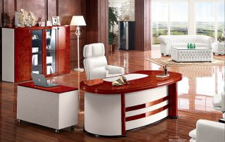 ROLLS 6836 Customized Walnut Modern Boss Office Table