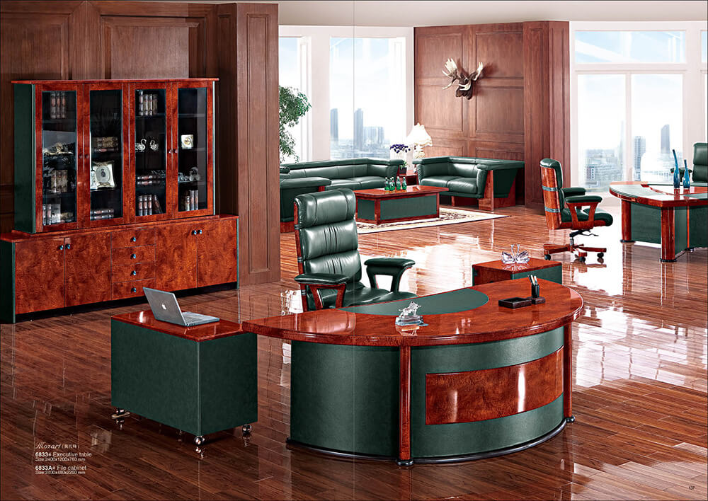 Rolls 6833 L shape Band Walnut CEO Executive Office Table