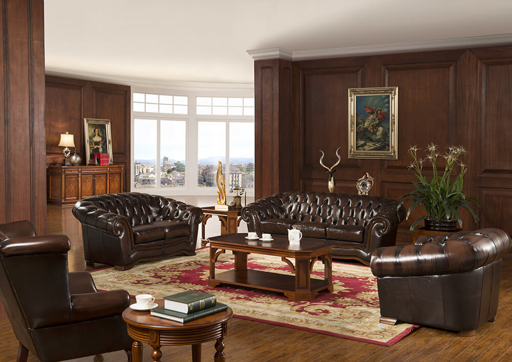 Italian Style Half Real Leather Solid Wooden Frame Sofa